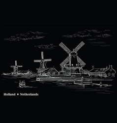 black hand drawing holland 2 vector image