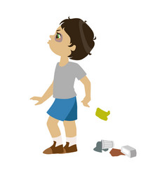 boy littering part of bad kids behavior and vector image