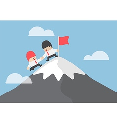 Businessman help his friend to top of mountain vector