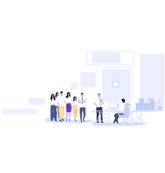 businesspeople group standing in line queue to hr vector image