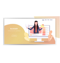 Businesswoman blogger making presentation live vector