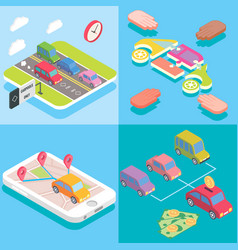 Carpool service concept in isometric style design vector