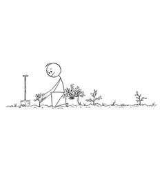 Cartoon man planting a small trees creating vector