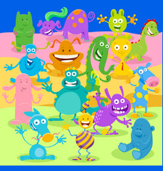 cartoon monster or alien fantasy characters group vector image