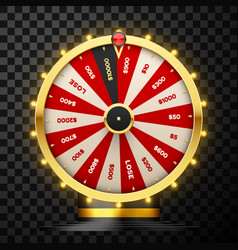 casino spinning fortune wheel realistic vector image