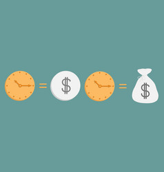 clock and dollar coin bag icon set line time is vector image