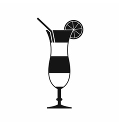 Cocktail with lemon icon simple style vector image