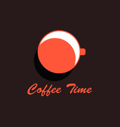 coffee time cup of coffee top view flat design vector image