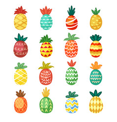 Colorful pineapples ornaments set ethnic festive vector