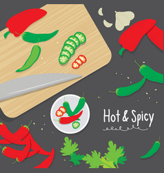 cook ingredient vegetable spicy slice chili pepper vector image