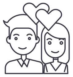 couple in lovehearts line icon sign vector image