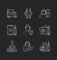 covid19 passport chalk white icons set on black vector image