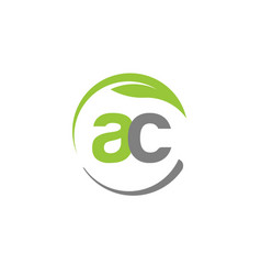 creative letter ac with circle green leaf logo vector image