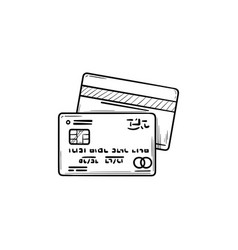 credit cards hand drawn outline doodle icon vector image