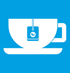 Cup of tea with tea bag icon white vector