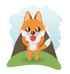 Cute fox animal wildlife vector