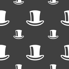 Cylinder hat icon sign Seamless pattern on a gray vector