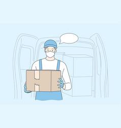 delivery quarantine covid19 coronavirus vector image