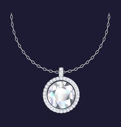 diamond pendant necklace icon realistic style vector image