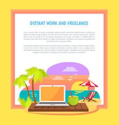 Distant work and freelance poster freelancer job vector