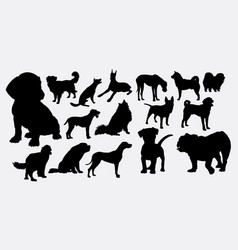 dog and puppy silhouette vector image