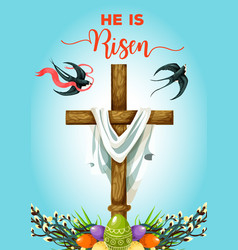Easter sunday cross with eggs greeting card vector