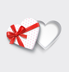 empty open heart shaped gift box with red ribbon vector image