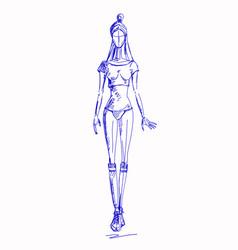 fashion-girl-pen vector image