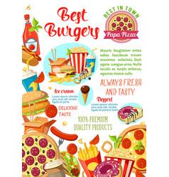 Fast food restaurant burger cafe pizzeria poster vector