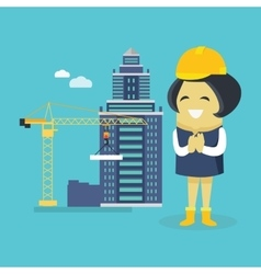 Female Engineer and Building Construction vector image