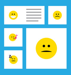 flat icon expression set of descant sad grin and vector image