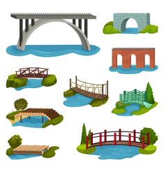 flat set of different bridges wooden vector image
