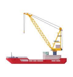 Floating crane industrial ship cargo vector