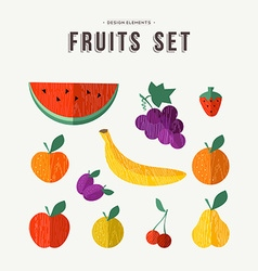 Fruits set food icons for nutrition and health vector