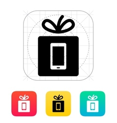 Gift mobile phone icon vector