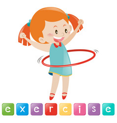 Girl exercise with hulahoop vector