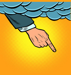 hand points out of the cloud vector image