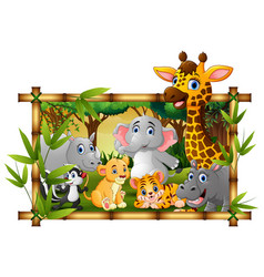 Happy wild animals in frame forest vector