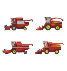harvesting combine set isolated on white vector image
