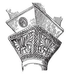 Impost cap byzantium vintage engraving vector