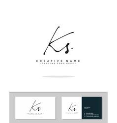 K s ks initial logo signature handwriting vector