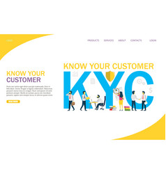 Know your customer website landing page vector