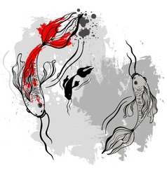 Koi fishes Japanese style vector