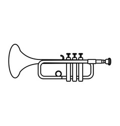 Line music trumpet instrument artistic melody vector