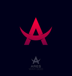 Logo ares red letter a with bull horns vector