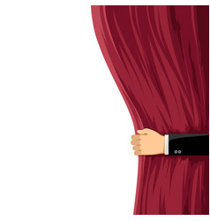 Man open a red curtain vector