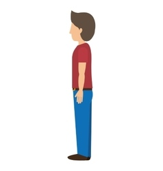 Man standing with left profile t-shirt vector