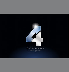 Metal blue number 4 logo company icon design vector