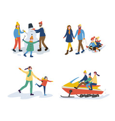 mum and dad with kids set of activities vector image