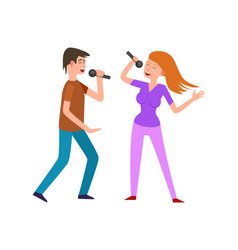 Musical performance by couple of singers pair vector